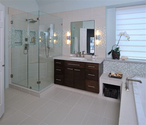 Modern Bathroom Makeovers Modern Bathroom Remodel With Mosaic Tile Modern