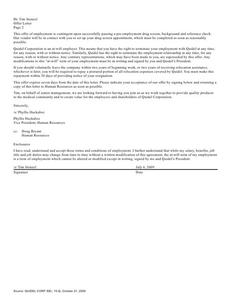 Offer Letter Contingent On Background Check Q3 2009 Earning Report Of Quidel Corporation