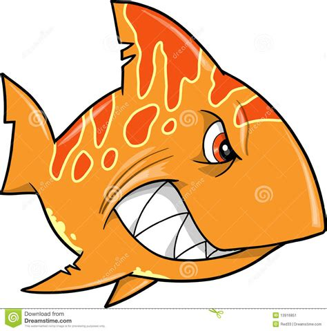 orange shark mean orange shark vector stock vector image of tough