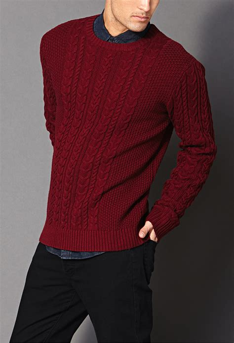 knitted sweatshirt lyst forever 21 chunky cable knit sweater in for