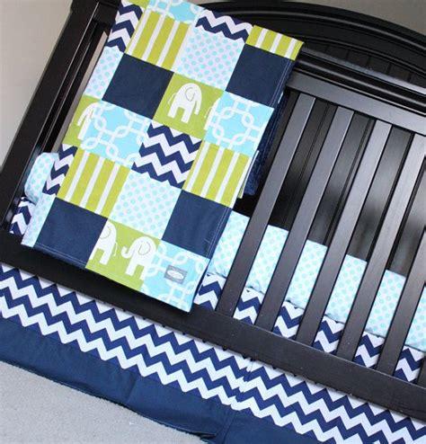 crib bedding set navy blue green elephant baby boy crib