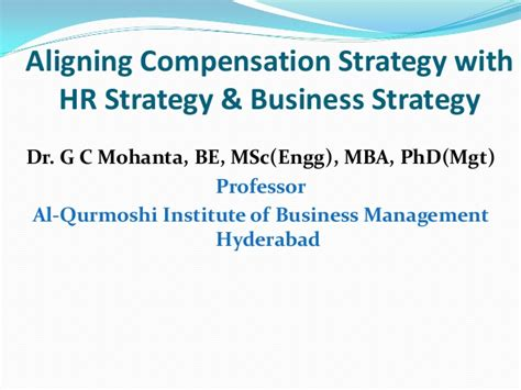 Keystone Strategy Mba Linktedin by Aligning Compensation Strategy With Hr Strategy Business