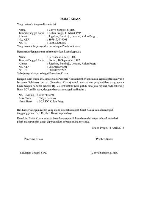 Format Surat Kuasa Pengambilan Uang Di Bank | download contoh surat kuasa pengambilan uang yang benar