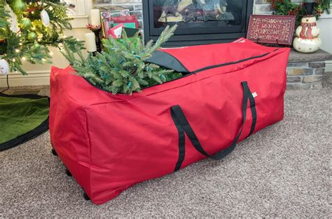 rolling christmas tree storage bag in christmas tree storage