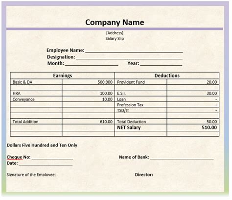 free printable sle of monthly salary slip template for