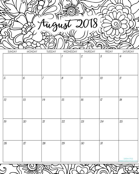 printable planner 2018 cute unique august 2018 calendar printable cute downloadtarget
