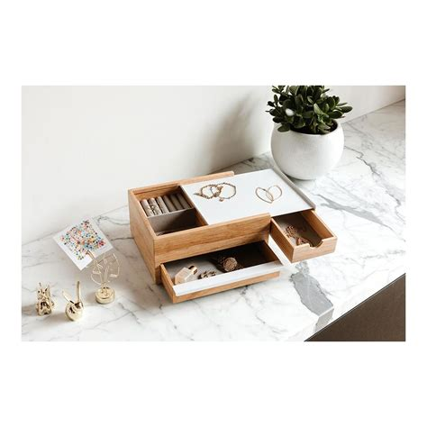 jewelry box stowit umbra jewelry box  wood  white metal