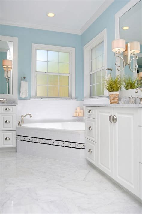 gray blue bathroom beautiful muted blue bathroom classic look corner tub white cabinets neutral gray