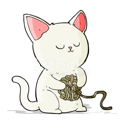 cartoon cat playing with ball of yarn stock photos