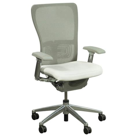 Haworth Chair by Haworth Zody Mesh Back Used Leather Task Chair White And