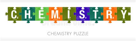 puzzle design elements vector chemistry word formed by symbols of the periodic table of