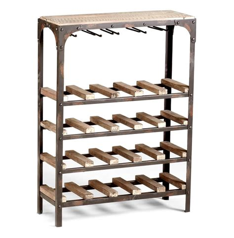 Console Rack by Gallatin Industrial Metal Rustic Wood Narrow Console Wine