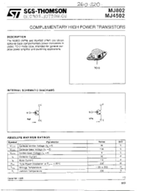 transistor mj802 datasheet mj802 stmicroelectronics complementary high power transistors