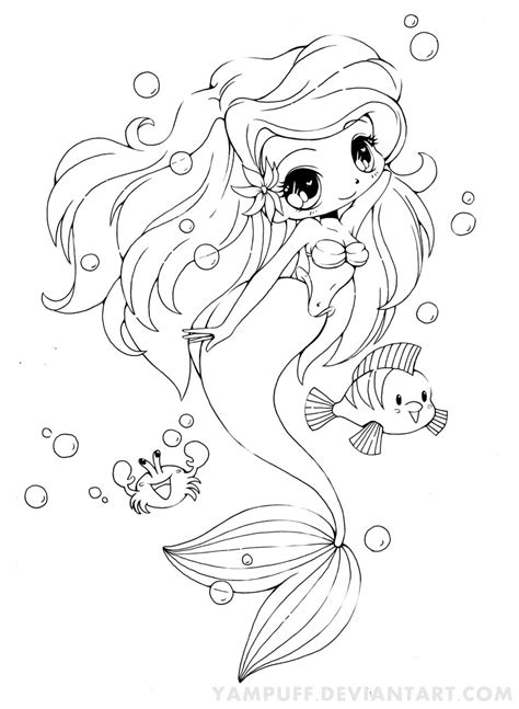 card mermaid coloring templates ariel the mermaid chibi by yuff on