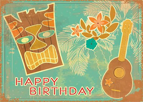 card template hawaian birthday hawaiian happy birthday greeting card vintage tiki and