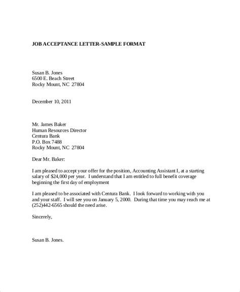sample employment acceptance letter templates