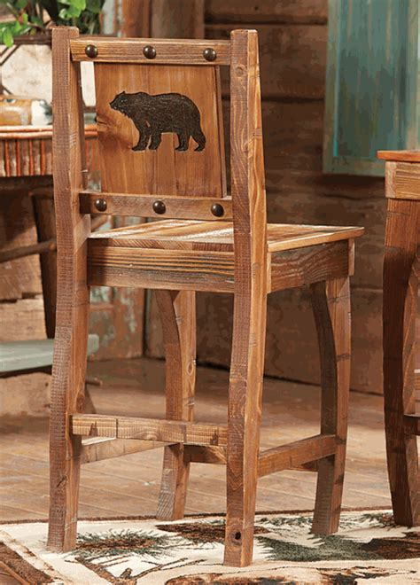 Barnwood Barstool w/ Carved Bear   Counter Height