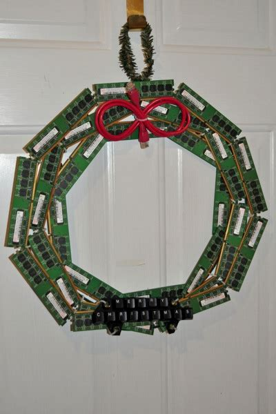 christmas wreath   recycled computer parts