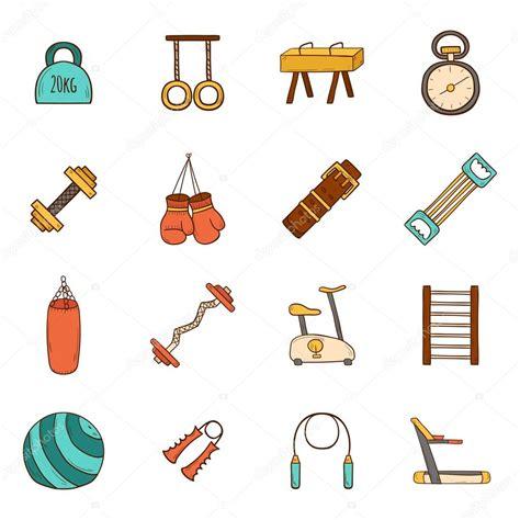 imagenes fitness animadas gimnasio iconos de dibujos animados vector de stock