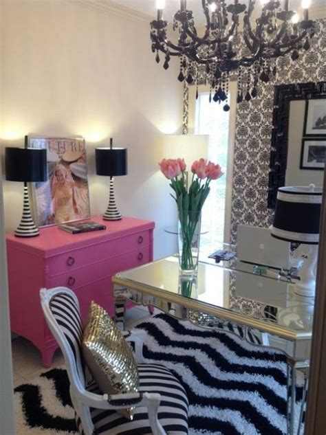 pink and black home decor feminine home office pink black and white home office
