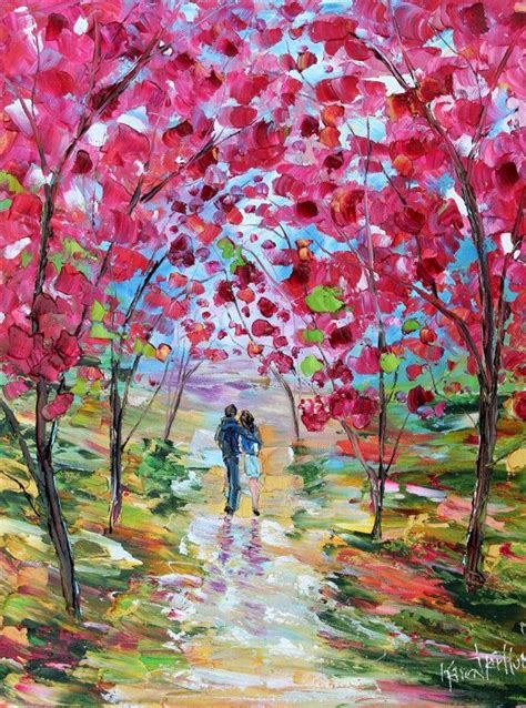 spring paint spring romance blooms painting oil on canvas landscape