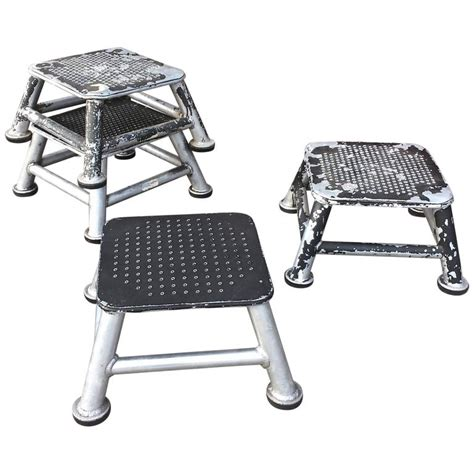 Industrial Metal Step Stool by Industrial Aluminum Station Step Stools At 1stdibs