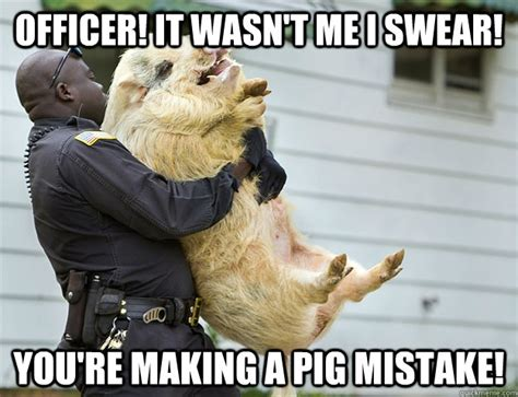 Funny Swearing Memes - officer it wasn t me i swear you re making a pig mistake