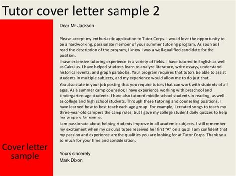 cover letter for tutoring position tutor cover letter