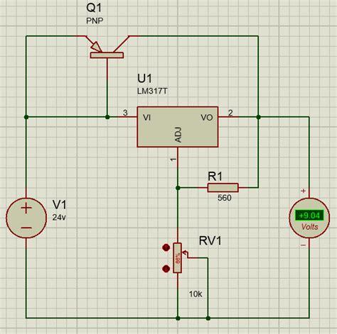 transistor bjt proteus regulador de voltaje de alta corriente con lm317