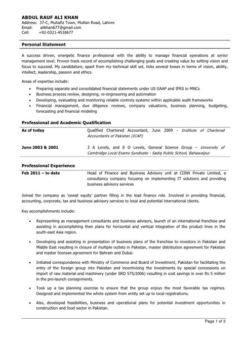 Job Sample Resume by Experienced Chartered Accountant