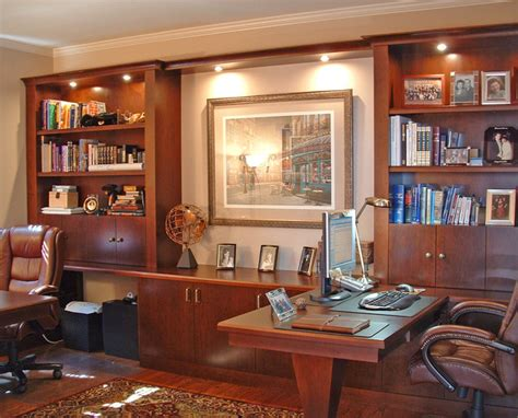 Built In Home Office Furniture Custom Hardwood Built In Furniture Traditional Home