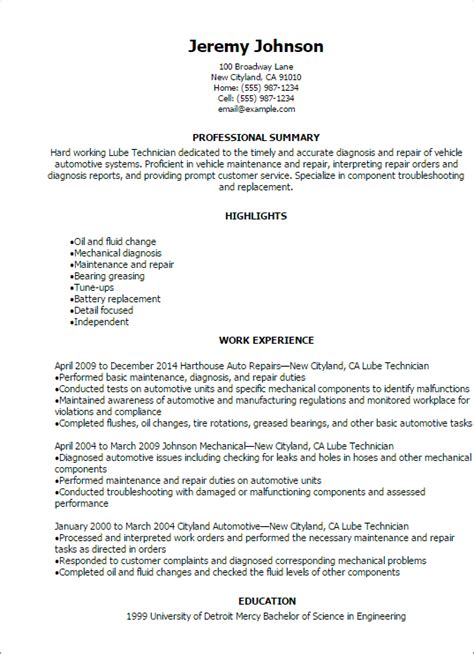 Lube Technician Description professional lube technician resume templates to showcase your talent myperfectresume