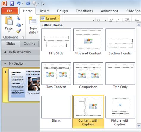 how to use powerpoint 2010 slide layouts change the powerpoint slide layout to get audience attention