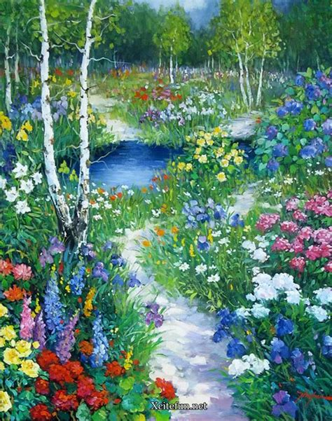 Paintings Of Flower Gardens Colorful Water Painting Of Nature Xcitefun Net