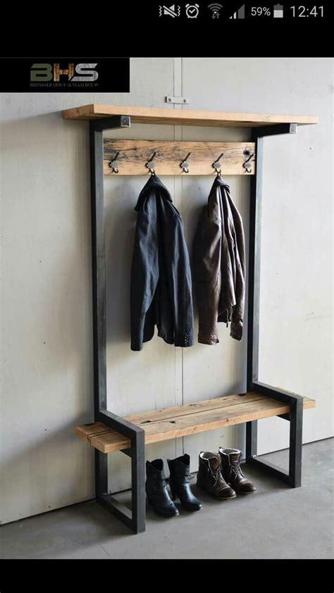 kapstok staand hout kapstok industrieel staal en hout huis inrichting