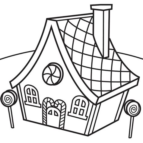 Gingerbread House Outline Clipart Best Simple Gingerbread House Coloring Page