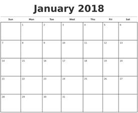 2018 Monthly Calendar Printable January 2018 Monthly Calendar Template