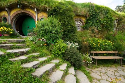 wallpaper hobbiton  zealand bench shrubs wallpapermaiden
