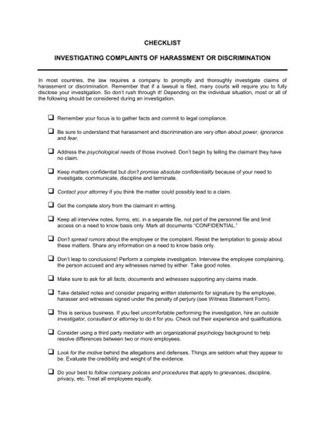 sexual harassment policy template checklist investigating complaints of harassment