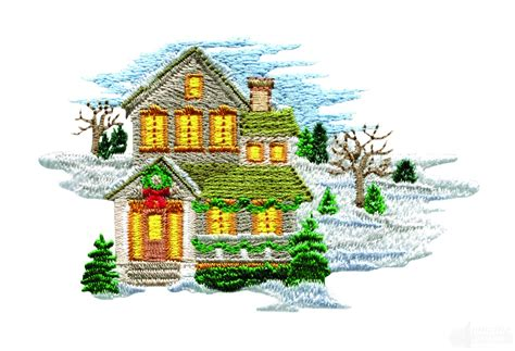 embroidery design house winter home embroidery design