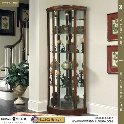 corner curio cabinets with glass doors howard miller modern curve door cherry corner display