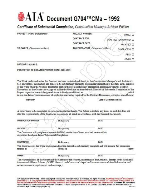 G704cma 1992 Certificate Of Substantial Completion Construction Manager Adviser Edition Aia Aia G706a Template