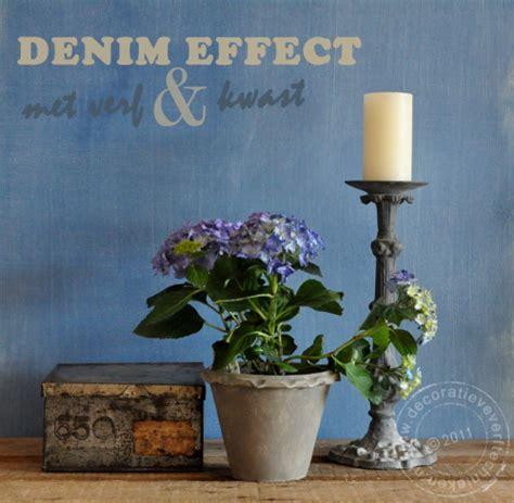 Muur Schilderen Effecten by Denim Effect Met Verf Kwast Verftechnieken