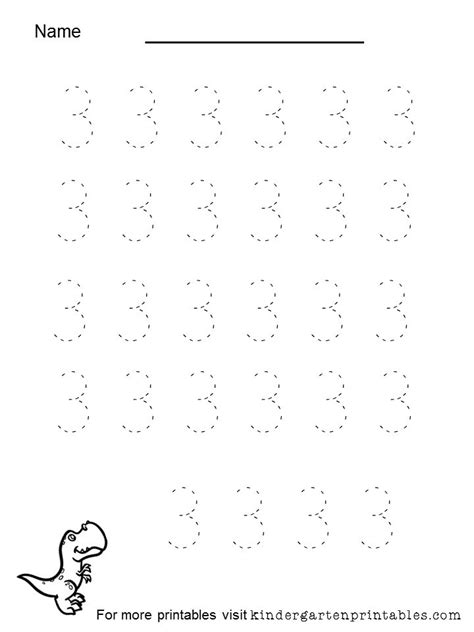 tracing number 3 worksheet