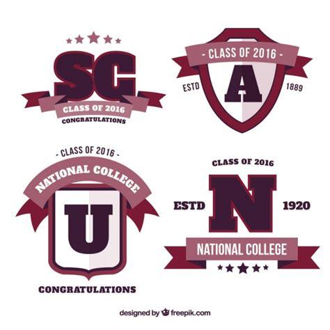 free logo design for university pack of four university logos in flat design vector free