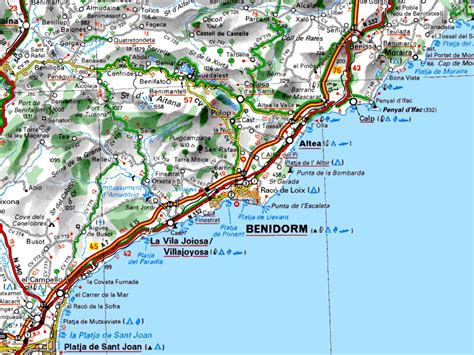 map of alicante area benidorm spain map images