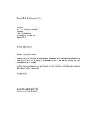 carta solicitud de empleo ingles calam 233 o carta solicitud de empleo