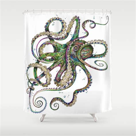 octopus curtains best octopus fabric shower curtains
