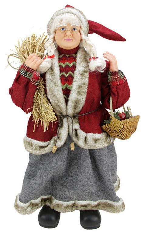 country mrs santa claus with hay and basket red 24