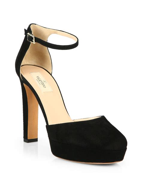Heels Suede Black 2 valentino suede ankle pumps in black lyst